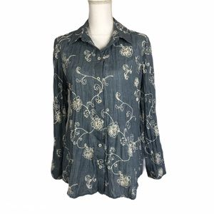 Chicos Broomstick Chambray Floral Embroidered Sz 1